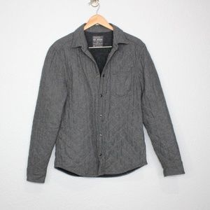 All Saints Grey Quilted Searcher Snap Down Jacket